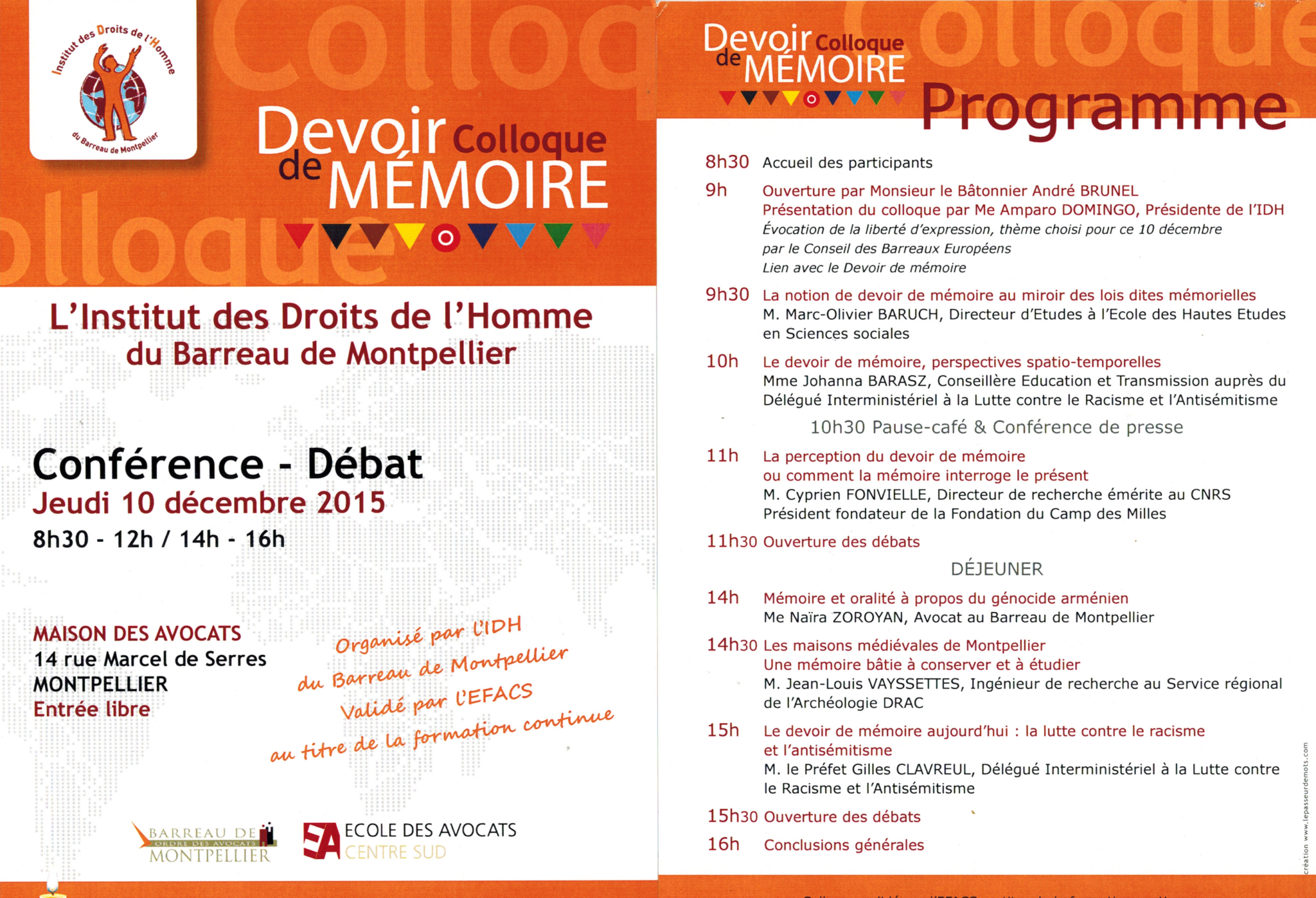 Colloque devoir de memoire
